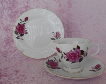 Vintage Floral China Trio White with Pink Roses and Buds Japanese 1960's