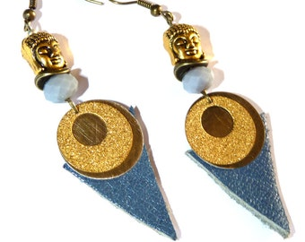 Earrings leather blue bohemian Buddha round golden prints tans unique  metal
