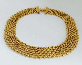 Napier Gold Choker, Vintage Napier Choker, Vintage Choker Necklace, Vintage Mesh Choker