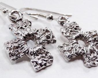 Cross Earrings,Drop Earrings, Dangle Earrings,Sterling Silver, Handmade Earrings,Christian Jewelry, Cross Jewelry,Gothic, Unique Gift