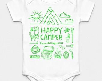 Happy Camper Organic Onesie - Green, Orange, Pink or Gray