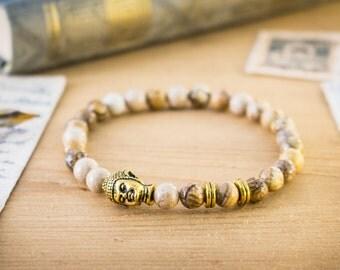 6mm - Jasper stone beaded stretchy bracelet with a gold Buddha, made to order yoga bracelet, womens bracelet, mens bracelet