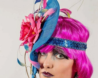perfect spring or summer fascinator blue/pink