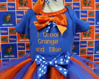 Florida gators baby girl outfit, UF Gator bodysuit,Gator girl tutu outfit,I Drool orange and blue, Gator Headband ,University of Florida, UF