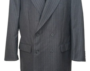 Vintage Mens Suit Size M by Burberry in Grey Pinstripe Chest - 40in W36in Inner Leg - 30in - Excellent Condition Free Postage