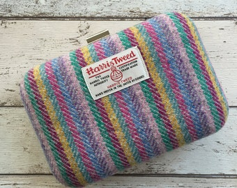 Harris Tweed Box Clutch Bag, Harris Tweed Bag, Bright Rainbow stripe Bag, Bright coloured Bag, Clutch Bag, Liberty Print, Unicorn Bag