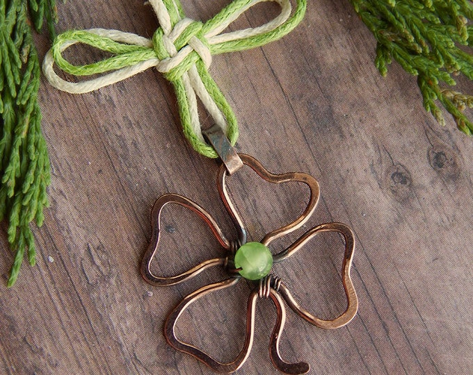Four leaf clover pendant, good luck knot, copper wire, Wire wrapped necklace, green shamrock, luck mascot, green and white, everyday jewelry