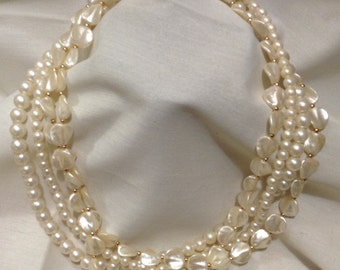 Faux Pearls Beaded Necklace, Cream Faux Pearls, Torsade Necklace C721-9