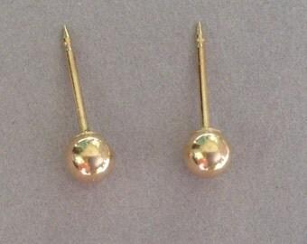 Gleaming 14k Gold 3.92mm Ball Stud Earrings