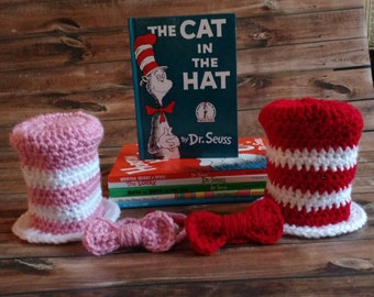 cat in the hat hat and bow tie set, baby dr seuss hat, dr seuss, newborn cat in the hat