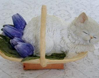 Vintage Cat In Basket Figurine, collectable home decor cottage chic decoration animal retro victorian kitten