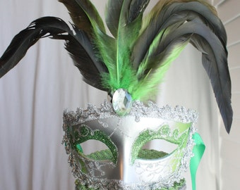 Masquerade, Venetian, Mask Cake Topper Green and Silver, Lime Green, Glitter, French, Carnival