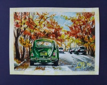 Old car mini painting watercolor Vintage auto Retro taxi cab Green classic car NY street art Automotive decor home office boyfriend gift men