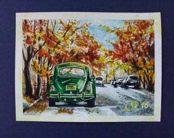 Fall|decor fall landscape art Old car painting watercolor Retro car art Old New York painting Classic car NY art gift|for|boyfriend gift men