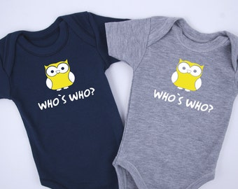 Identical Twin Boy Outfits, WHO IS WHO? Funny Twin Outfits, Set of 2 Bodysuits - Navy & Gray, Identical Twins, Twin Boy Gifts, Baby Shower