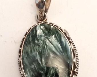 Seraphinite and Silver Pendant