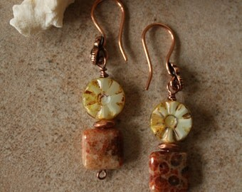 127 Genuine fossil and Czech glass dangle earrings, copper wire and spacers, boho, artisan, rustic, fossil