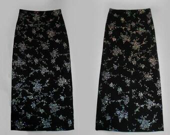 90s Vtg Glitter Goth Black Slinky High Waist Bodycon Form Fitting Witchy Vamp Goth Flower Print Shiny Grunge Maxi Skirt Small Medium