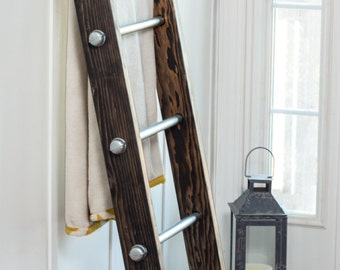 Wood Ladder, Blanket Ladder, Modern Industrial Deco, Industrial Furniture, Ladder Decor, Decorative Ladder, Reclaimed Wood, Blanket Display