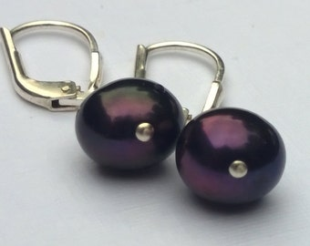 Midnight Blue Freshwater Pearl and Sterling Silver Earrings, Lever-Back Earring Wire, Berry and Green, Wire Wrap, Dangle