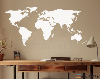 World Map Decal - Wall Decal Matt Vinyl or Dry Erase or Chalkboard - Wall Art Decor Sticker for Home or Office - white black board - V003