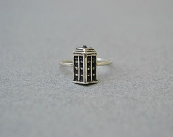 Doctor Who Tardis Ring Jewelry, Police Box Dr. Who Tardis Sci Fi Geek Jewelry 925 sterling silver Ring