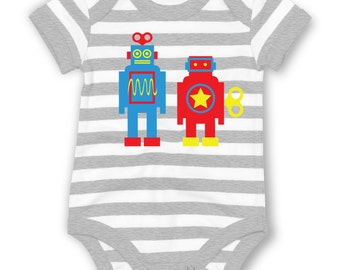 Wind Up Robots striped baby grow
