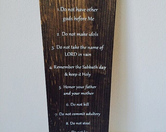 Ten commandments wooden sign