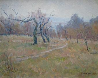 VINTAGE LANDSCAPE Original Oil Painting by Ukrainian artist Minsky G. 1971, Signed, Ukrainian Art, Soviet era art, High Quality