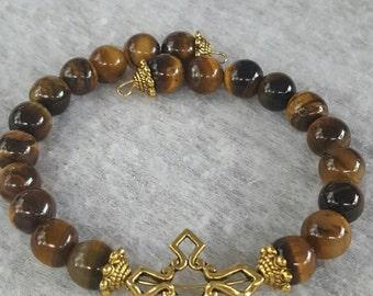 Tigers Eye,  Gold,  Cross Memory Wire Bracelet
