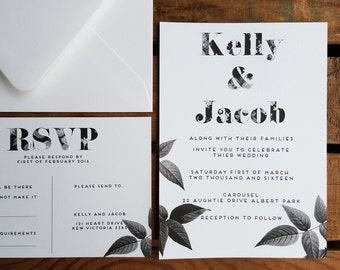 Black & White Flora, Invite and Rsvp
