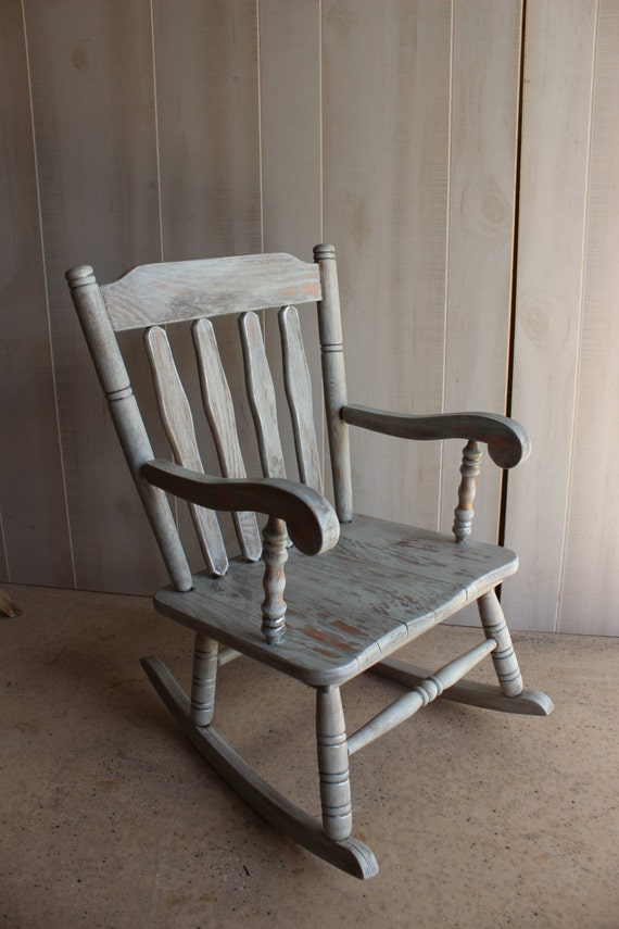 Shabby CHIC KIDS Rocking Chair painted by SpendThriftThrive