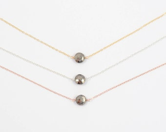 Pyrite Necklace, Gemstone Choker Necklace, Pyrite Jewelry, Dainty Necklace, Minimalist Necklace, Delicate Necklace, Gold, Rose Gold, Silver