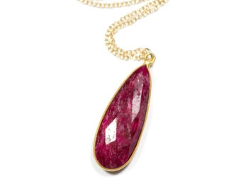 Ruby Necklace, Ruby Pendant Necklace, Gold Ruby Jewelry, Ruby Red Necklace, Red Gemstone Necklace, July Birthstone, Gold Filled