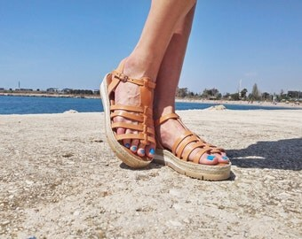 Leather Sandals, Gladiator Sandals with cord decoration. Handmade Leather Sandals. Summer Shoes, 100% Leather - Handmade in Greece.