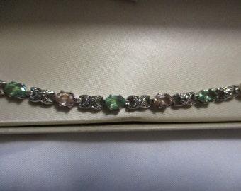 Vintage bracelet Platinum over Sterling Silver with Dmond Accent