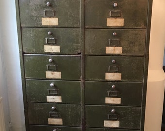 Industrial Mid-Century French 20-Drawer Metal Cabinet