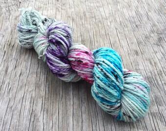 Spoiled Brat - 100% Superwash Merino Wool - Hand Dyed Yarn - Bulky Weight Yarn - Bulky Yarn - Wool Yarn - Speckled Yarn Blue Pink Purple