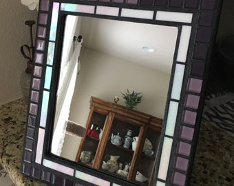 Stained Glass Mosaic Mirror or Picture Frame, Purple, Plum, and White