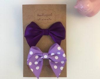 Set of 2 Hair Clips - Purple