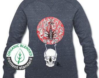 Women's Organic Sweatshirts, Organic Cotton. Organic Sweater. Women's Clothes. Sweater with illustrated print. Sun, Skull, Scorpion.