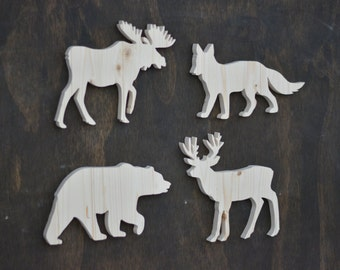 Wood Woodland Animal Cutouts