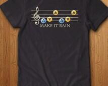 Zelda Shirt Make It Rain T-Shirt Song Shirt Geek Gift Ideas For Him Nerd Gaming Link Skyrim Dungeon Elf Sword Bomb Shield Gamer Video Games