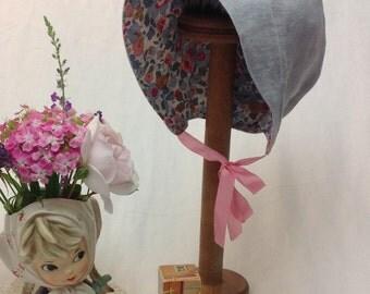 Little house on the Prairie bonnet,  vintage style baby girls hat, linen sun Bonnet with brim, baby sun hat, beach hat