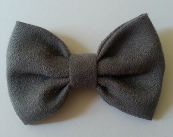 Gray Suede Bow Tie - Baby // Toddler // Child - Clip On