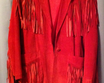 Red suede jacket with fringe