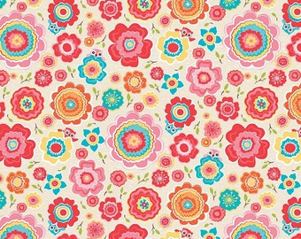 KNIT Riley Blake Tree Party Floral Cream Cotton Lycra Knit Fabric. Sold by the 1/2 Yard