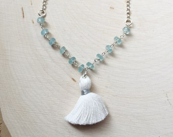 Gemstone Tassel Bracelet, White Tassel Bracelet, Apatite Bracelet
