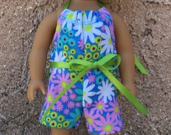 6 inch mini doll clothes: flowered halter romper