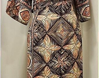 Aloha!  Striking! Salmony Pink ~ Grey ~ Black ~ White ~ Cotton ~ Hawaiian Dress ~ Amazing Design ~ Tiki ~ Oasis ~ Viva ~ Rockabilly ~ Resort
